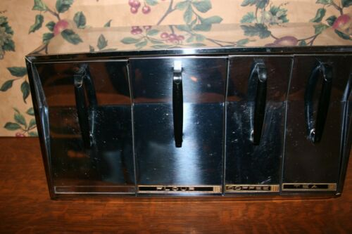 VINTAGE BEAUTYWARE BY LINCOLN CHROME CANISTER COUNTERTOP OR WALL MOUNT
