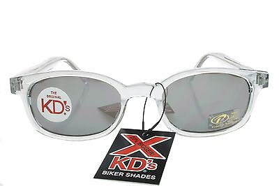 X KD's Sunglasses Original Biker Shades Clear Frame Mirror Lens Chill (Clear Frame Mirrored Sunglasses)