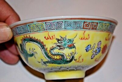 ANTIQUE CHINESE BOWL HAND PAINTED ENAMEL ON YELLOW GROUND PORCELAIN DRAGON BIRD