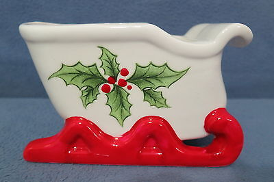 Vintage Ceramic Sleigh w Holly & Berries Candy Dish Planter Parma by AAI Japan