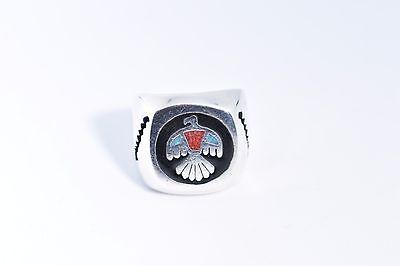 Vintage Southwestern Silver Stone Inlay American Thunderbird 10 Size Ring