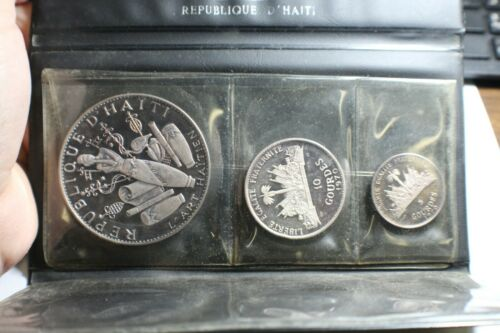 1970 SILVER HAITI 10TH ANNIVERSARY REVOLUTION 3 COIN PROOF SET