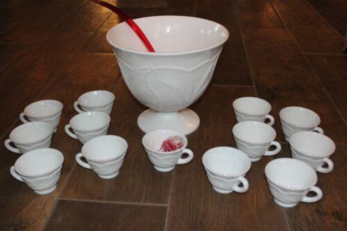 VTG Indiana Orleans Pebble Leaf Milk Glass Planter or Punchbowl Set! Ladle Hooks