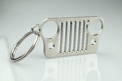1x Stainless Steel Jeep Bumper Grill Shape Key Chain Key Ring For CJ JK TJ YJ XJ