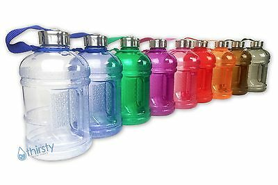 - BPA Free Water Bottle Half Gallon Drink Canteen Jug Container Steel Cap 64 oz