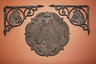 3 Rustic Steakhouse Restaurant Decor Cowboy Western Cast Iron Horse Plaque
