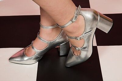 Silver triple strap pointed mary jane dolly heels by New look size 7 Triple Strap Mary Jane
