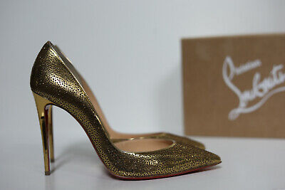 New sz 9.5 / 40 Christian Louboutin Galu Gold Laser Cut Half d'Orsay Pump Shoes