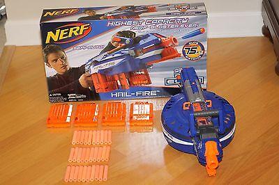 NERF N-Strike Elite Hail-Fire Motorized Blaster w/ Original Box 4 Clips 30 Darts