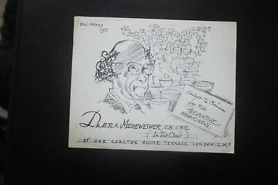 1957 THE SAVAGE CLUB C HOUSE DINNER CARD BILL BERRY CARTOON CARICATURE