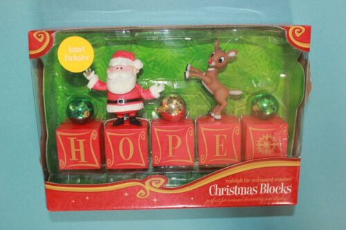 Rudolph The Red Nosed Reindeer Christmas Decor Blocks HOPE KMart Exclusive NEW