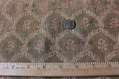 French Antique 19thC Silk Floral & Bow Brocade Fabric~Dolls, Home
