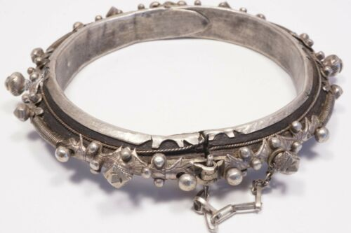Antique/vintage Silver and Ebony Tribal Bracelet from Mauritania.