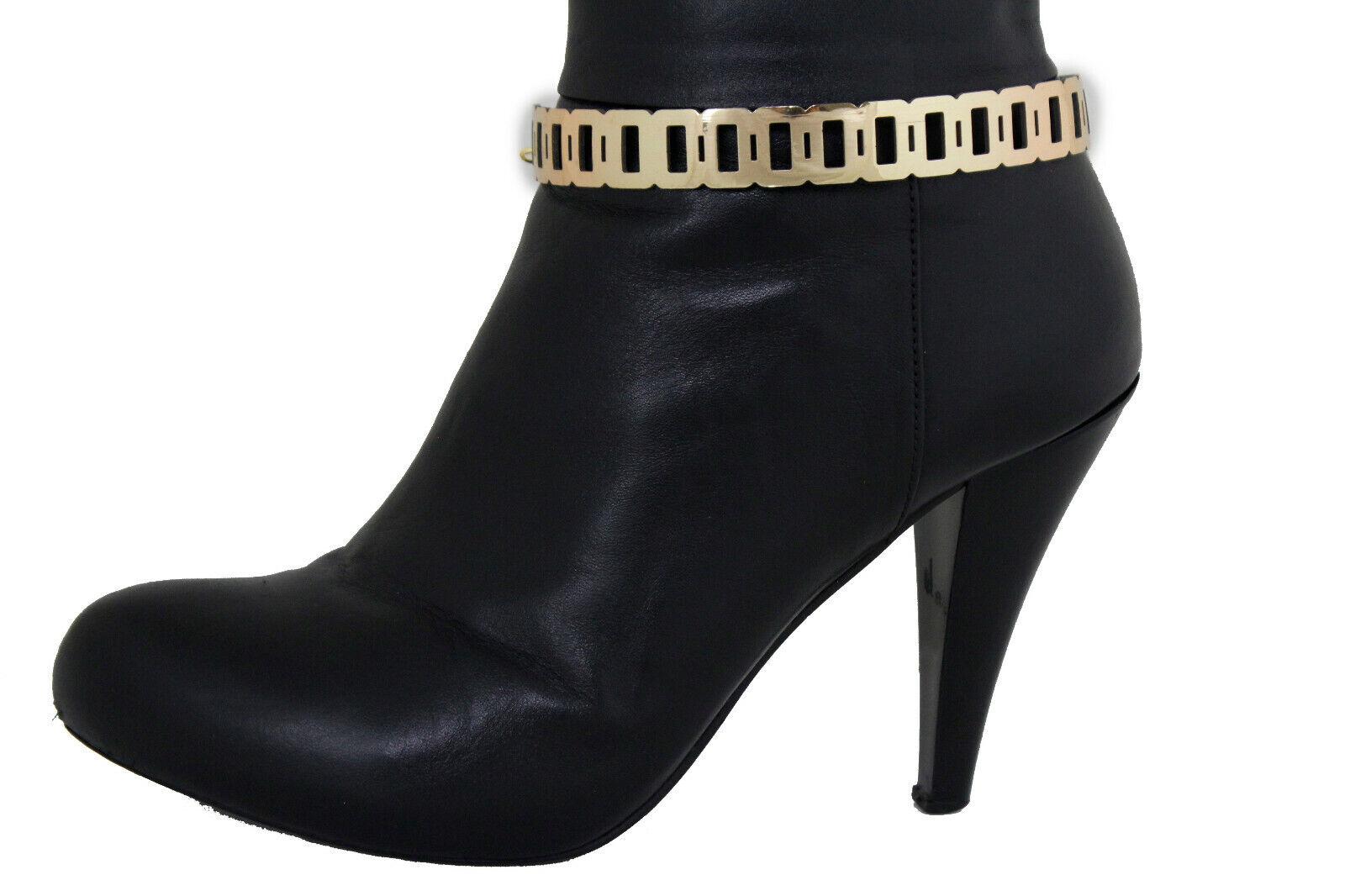 Women Gold Metal Chain Boot Bracelet Anklet Shoe THUG Big Charm Hip Hop Jewelry