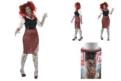 Womens *Plus Size* Zombie High School Girl Halloween Fancy Dress FREE Blood Fun (Zombie Plus Size Halloween-kostüme)