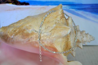 Swarovski Crystal & .925 Sterling Silver Bead Ankle Bracelet 9 to 10 Inches