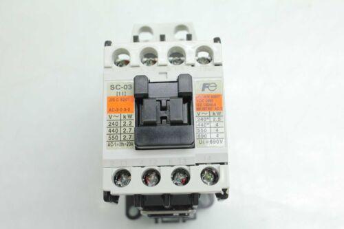 Fuji Electric SC-03 Industrial Motor Contactor 20A Coil Voltage 110-120V AC