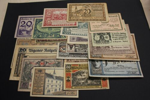 AUSTRIA NOTGELD 1920 LOT 20 BANKNOTES DIFFERENT.  GOOD CONSERVATION