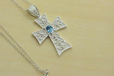 Orthodox Baptism Silver Cross Necklace Aquamarine Stone Pendant Chain Greek