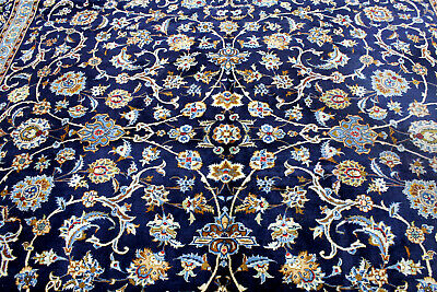 10X13 1940's ANTIQUE HAND KNOTTED VEGETABLE DYE WORN WOOL KASHANN DISTRESSED RUG
