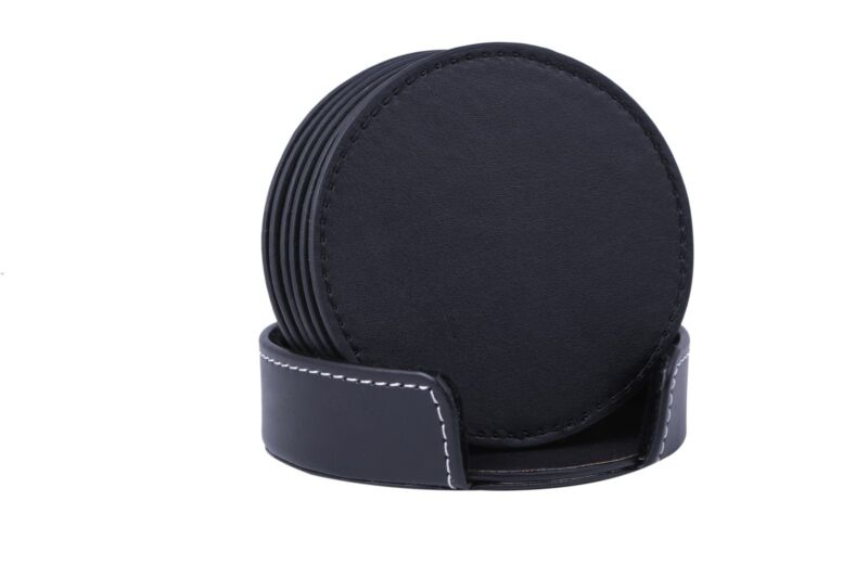 Black Leather Drink Coasters With Holder Set Of 6, Round, 3.9in By Americanvine