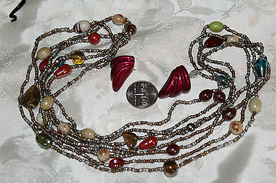 VIN FALL COLORS ART GLASS 2 STRAND NECKLACE BY EXPRESS+ POST EARRINGS NICE! - Express Post Costumes