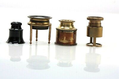 lot FOUR antique Magnifiers LOUPE, ground glass Focus, brass/plastic