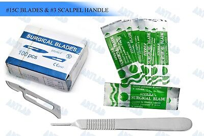 100 Scalpel Blades 15c Pack Scalpel Handle 3 Surgical Knife Dermaplaning