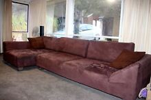 Large Brown Suede Chaise Lounge Prestons Liverpool Area Preview