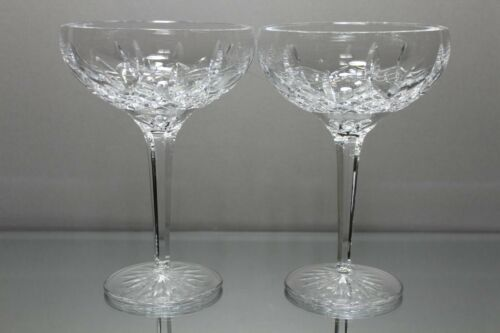 Set of 2 (2) Waterford Crystal LISMORE MARGARITA GLASSES Seahorse MINT Condition