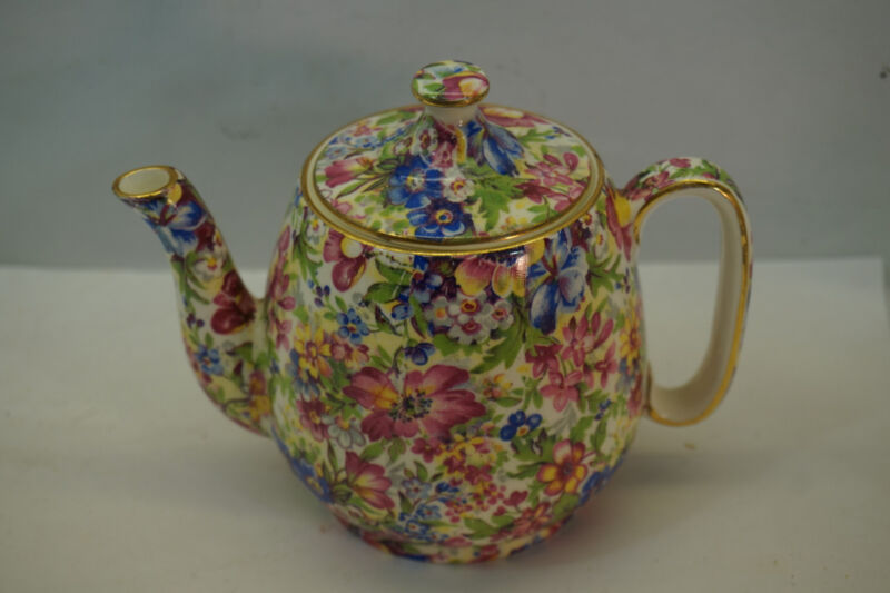 VINTAGE ROYAL WINTON CHINTZ CHINA SUNSHINE PATTERN TEAPOT 4.25in GRIMWADES