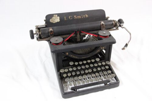 Vintage LC Smith Black Typewriter 8 14 Secretarial