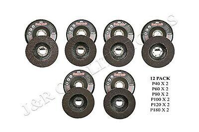 12 Assorted Grit 4 12 Angle Grinder Sanding Flap Disc 406080100120180