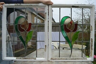 2 leaded light stained glass Crittall window sash frames. R1025c x2