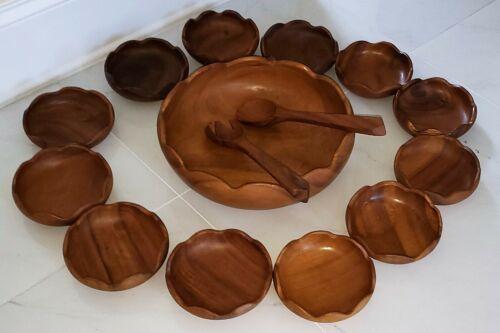 Vintage 15 Pieces Salad Bowl Set Monkey Pod Wood Philippines Kiln Dried