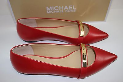 NIB MICHAEL KORS Size 9 Women's Crimson 100% Leather JESS FLAT Point Toe Loafer