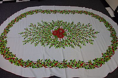 Vintage Christmas Tablecloth-Oval-White w/ Red Poinsettias & Holly-59x88  - SALE