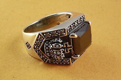 ROYAL KRONEN RING MIT BLACK STONE SILBERRING 925 ECHT SILBER / 453 (Ring Mit Krone)
