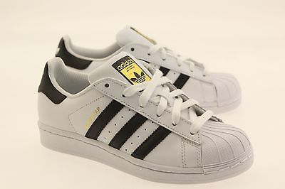 $70 Authentic New Adidas Originals Big Kids Boy GS Superstar White Black  C77154