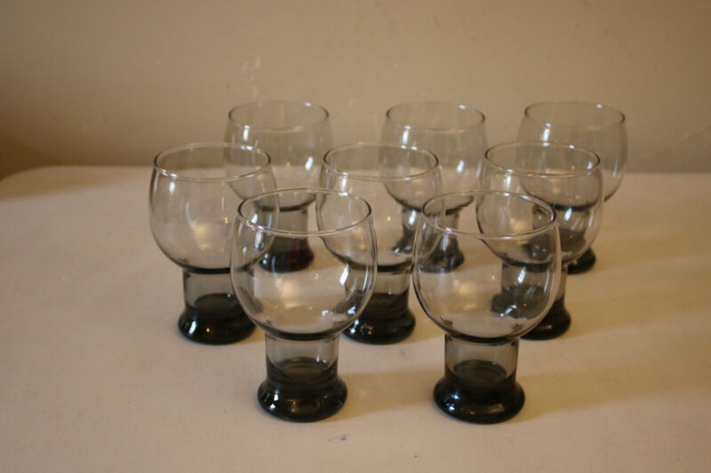 Vintage Set of 8 Smoky Glass Drinking Glasses