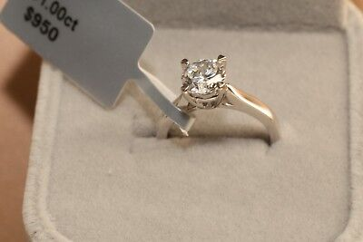 Solitaire Diamond Engagement Ring 1ct 18k White Gold Toned Round Cut