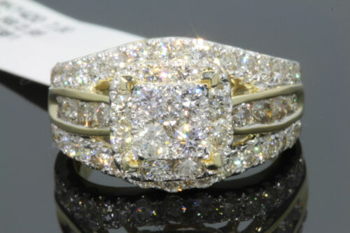 10K YELLOW WHITE GOLD 2.75 CT WOMEN REAL DIAMOND ENGAGEMENT RING WEDDING BRIDAL