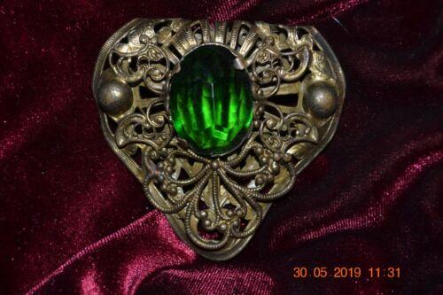 Victorian Brass Dress Clip w/Large Green Glass Center
