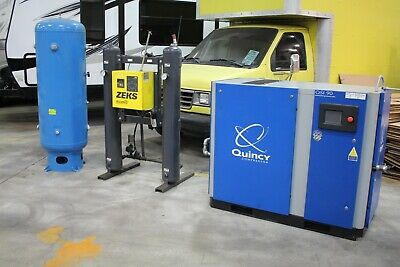 Quincy Qsi Qsi 90 Air Compressor With Zeks Air Dryer And 120 Gallon Air Tank