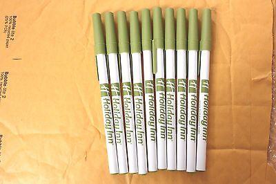 Holiday Inn motel green white Bic advertising stick pen. 10 pens
