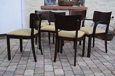 6 Stühle/Polsterstühle Esszimmer deutsches Art Deco / 50er Jahre massiv Kirsche