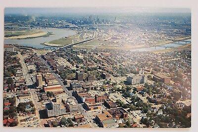 AERIAL VIEW OF KANSAS CITY, BROTHERHOOD BUILDINGS, TOWN HOUSE HOTEL, KANSAS 1958