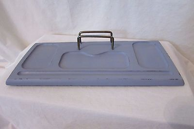 Wood Valet - Vintage Dresser Valet Wood Tray Organizer Distressed Chalk Painted Blue