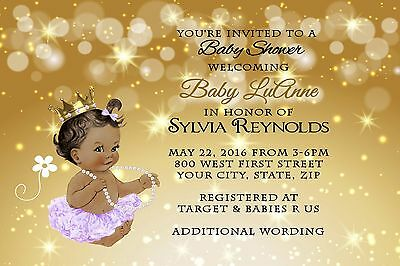 Gold Tutu PRINCESS Baby Shower Invitations TUTU & SKIN TONE CAN BE CHANGED