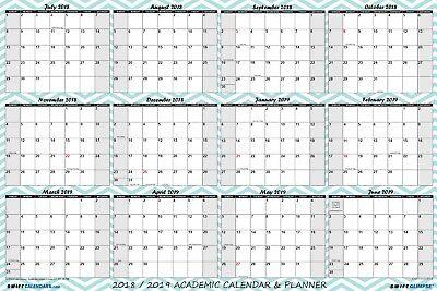 (2018 2019 Academic Dry Erase Wall Calendar Yearly Planner Chevron Pattern 18x24)